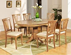 Avon 7PC Oval Dinette Dining Table 6 Microfiber Upholstered Chairs