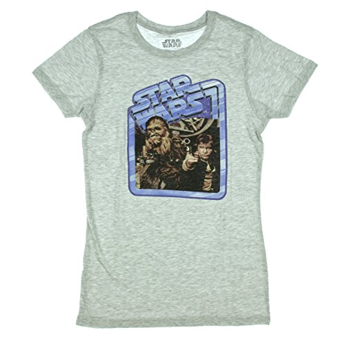 Star Wars Vintage Han Solo & Chewbacca T-Shirt  Heather Grey  (Large)
