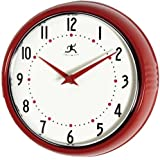 Infinity Instruments Retro Round Metal Wall Clock, Red