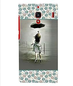 ColourCraft Girl with Umbrella Back Case Cover for XIAOMI REDMI 1S