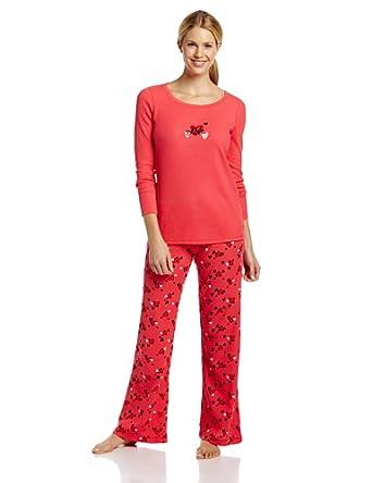 Hue Sleepwear Women's Set Thermal Pajama Set, Geranium, Large