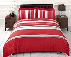 Detroit parure de lit housse de couette rayures rouge gris - Housse de couette grise et rouge ...