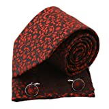 PH1087 Black Burgundy Paisley World Presents Woven Silk Necktie Handkerchiefs Cufflinks Gift Box Set Black Mens Style By Epoint