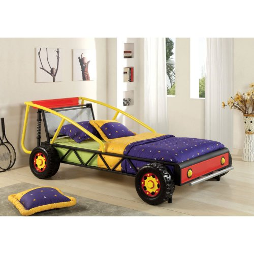 Furniture Of America Furniture Of America Race Car Twin Metal Bed, Red And Yellow, Metal, Twin front-608464