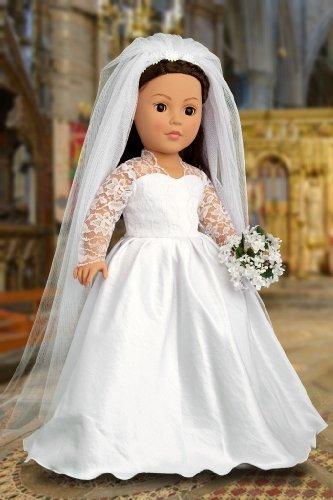 Princess Kate Royal Wedding Dress With White Leather Shoes And Tulle Veil Fits 18 Inch American Girl Dolls