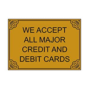 Amazoncom we accept major credit debit cards engraved for Accept business credit card