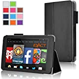 Fire HD 7 Case - Exact Amazon Fire HD 7 4th Gen Case [PRO Series] - Premium PU Leather Folio Case for Amazon Fire HD 7 4th Generation (2014) (With Auto Wakes/Sleep Function) Black