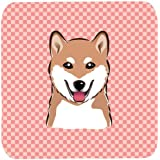 "Caroline's Treasures BB1225FC Checkerboard Pink Shiba Inu Foam Coaster (Set Of 4), 3.5"" H X 3.5"" W, Multicolor"