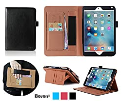 iPad Pro Case, Bovon® Folio Premium PU Leather Stand Case Cover with Auto Wake & Sleep Feature, Elastic Strap, Card Slots, Note Holder for Apple iPad Pro (2015 Release) (Black)