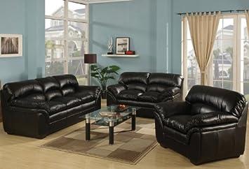 3pc Traditional Modern Leather Sofa Set - AC-JOY-S2