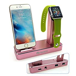 Apple watch stand,FIDEA 5 in 1 Aluminum ,Exchange with 3 kinds of interface ,Fit tor Apple Watch &Iphone 5/6/7/Sumsung & LG Series of products with 3 USB Output to Charge iPad and More(Rose Gold)
