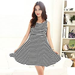 Fashionate Maternity - Comfortable Women's Maternity Dress Black & White Cotton Maternity Dress X-Large