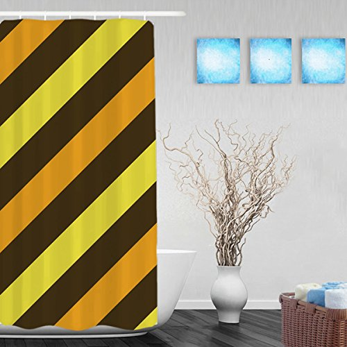 Bright Color Striped Bathroom Shower Curtain Brown Yellow Orange Decor Shower Curtains Waterproof Mildewproof Polyester Fabric 36