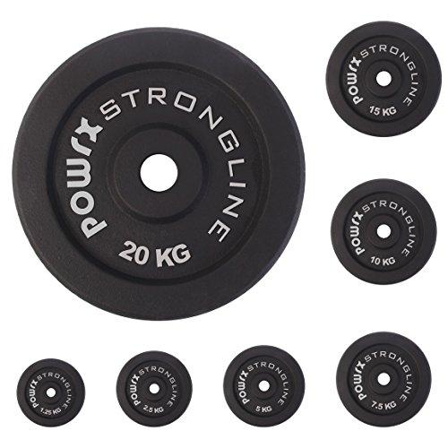 Dischi pesi ghisa 5 - 30 kg - Ideali per manubri e bilancieri con braccio da 30 mm - (2 x 5 kg / Nero)