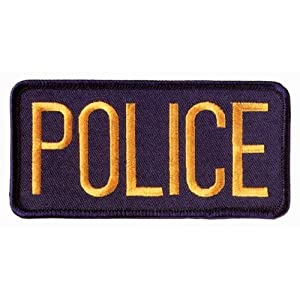 """POLICE Officer Small Uniform Jacket Patch Emblem Insignia Badge 4-1/4 x 2"""" GOLD on NAVY (2 INCLUDED, PAIR !)"""