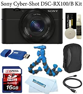 Sony CyberShot® DSC-RX100 20.2 MP Exmor CMOS Sensor Digital Camera with 3.6x Zoom + Camera Case + LexSpeed 16GB SDHC Class 10 Memory Card + Card Reader + Cleaning Kit + Flexpod
