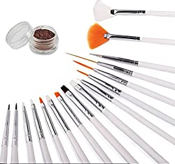 16 Piece Nail Art Tip Brush Tool Set - Dotting Pen Drawing Liner Striper and Fine Detail with Free Gift Glitter Powder
