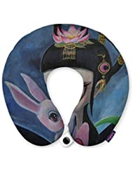 FUNKYLICIOUS Travel Pillow THE GODDESS OF THE MOON AND MOON RABBIT Design (Multicolour)