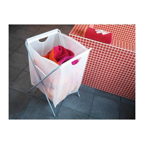 """Ikea Laundry Bag w/ Stand 18 Gallon 26"""" H Holds 15lbs Foldable Clothes Storage Tote White Jall"""