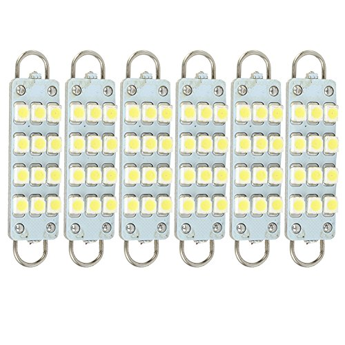 New White Led Bulbs 12 Smd Festoon Lights 42Mm To 44Mm Rigid Loop 6-Pack