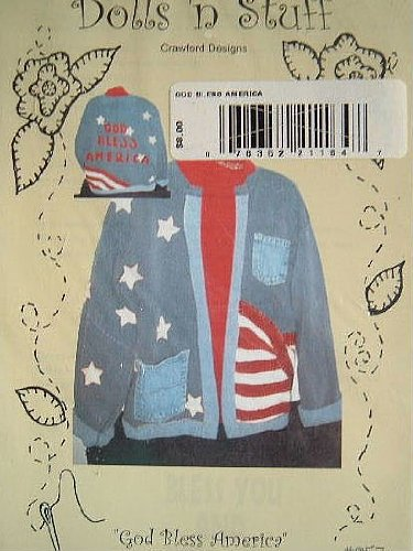 GOD BLESS AMERICA - MAKE WITH ANY SWEATSHIRT - WOMENS CLOTHING -DOLLS 'N STUFF PATTERN #057