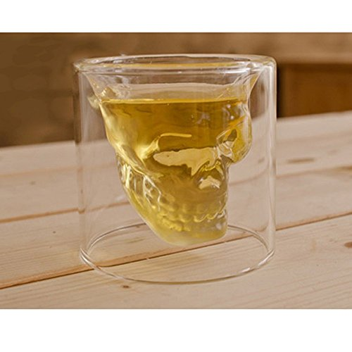 LOHOME (TM) Fashionable Creative Crystal Double Layer Glass Cup Skull Head Shaped Wine Beer Juice Glass Doomed Shot Glass Goblet