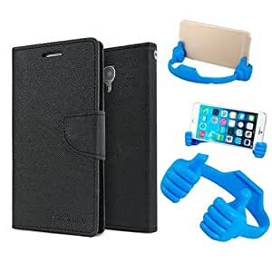 Aart Fancy Diary Card Wallet Flip Case Back Cover For Nokia 520 - (Black) + Flexible Portable Mount Cradle Thumb Ok Stand Holder By Aart store