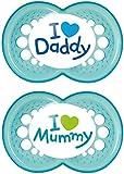 MAM - Conjunto de 2 chupetes escrito: Te amo mam
