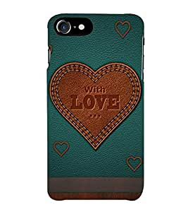 Fiobs With Love Love case Leather Look and wood look Phone Back Case Cover for Apple iPhone 7 Plus (5.5 Inches)
