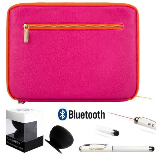 Irista Carrying Leather Sleeve (Magenta, Orange) For Toshiba Encore Wt8 8-Inch Tablet (Wt8-A32, Wt8-A64) + Bluetooth Suction Speaker + Stylus