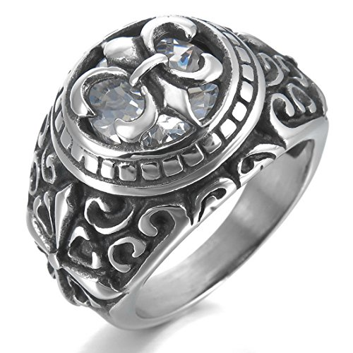Men'S Stainless Steel Ring Cz Silver Black White Celtic Medieval Cross Knight Fleur De Lis Oval Signet Vintage Size9