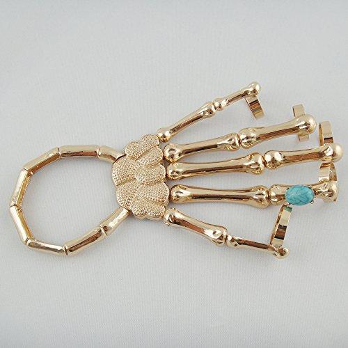 Cool Punk Rock Skull Bone Rivet Punk Rock Skeleton Skull Hand Bone Ring Bracelet (Gold)