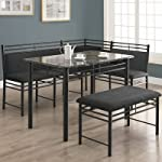 Monarch Specialties 3-Piece Corner Dining Set, Grey