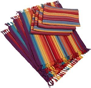 DII Fiesta Del Sol Multi-Color Striped Placemat Table Linen, Set of 8