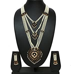 Black 3 layer Pearl Chain Royal Rani Haar Necklace Set available at Amazon for Rs.2850