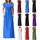Aurorax Hot Sale!Maxi Dresses,Women Short Sleeve Loose Casual Long Dresses With Pockets-9 Colors