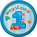 Creative Converting Fun at One Happy First Birthday Boy Round Dessert Plates, Boy, 8 Count