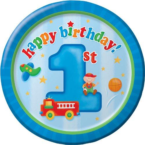 Creative Converting Fun at One Happy First Birthday Boy Round Dessert Plates, Boy, 8 Count