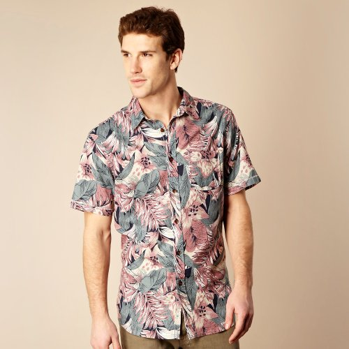 Mantaray Big And Tall Pink Floral Casual Shirt