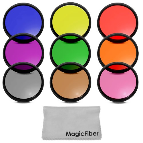 67Mm Complete Full Color Lens Filter Set For Canon Rebel T5I T4I T3I T2I T1I Sl1, Eos 700D 650D 600D 550D 500D 100D Dslr Cameras With A 18-135Mm Zoom Lens - Includes: Red, Orange, Blue, Yellow, Green, Brown, Purple, Pink And Gray Nd Filters + Magicfiber M