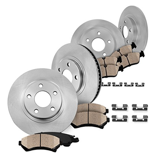 FRONT 299 mm + REAR 280 mm Premium OE [4] Rotors + [8] Quiet Low Dust Ceramic Brake Pads + Pad Hardware Clips CK003135 (Mazda 6 Rotors 2007 compare prices)