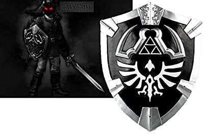 Large Dark Black Link'S Knight Shield From The Game Legend Of