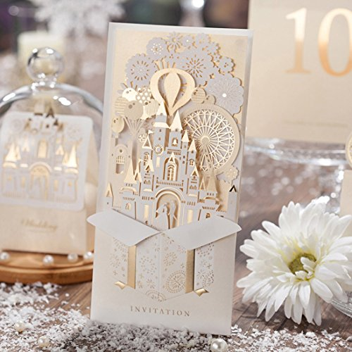 Wishmade 3D Laser Cut Gold Wedding Invitations Cards kit With Bride and Groom in Castle Cardstock Paper For Engagement Bridal Shower With envelopes seals 50 Pieces / Set