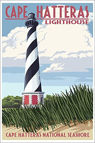 Cape Hatteras Lighthouse - Outer Banks, North Carolina (12x18 Art Print, Wall Decor Travel Poster)