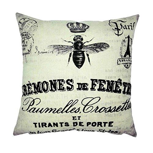 bombola-custodia-di-cuscino-ape-animale-corona-torre-eiffel-paris-lino-cotone-miscela-quadrato-feder