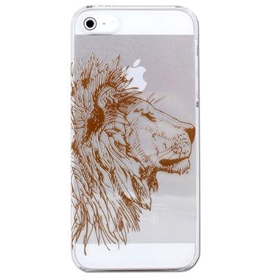 iPhone5 ケース アニマル ペン画 (A) ライオン クリアベース ブラウン ハードケース 【mobeeオリジナルデザイン】