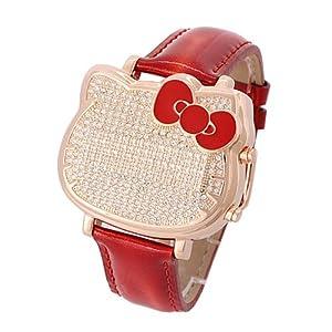 Kids Hello Kitty Swarovski Crystal Accented Red Luxury Rhinestone Watches