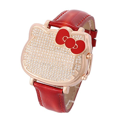 Hello Kitty Swarovski Crystal Accented Red Watch