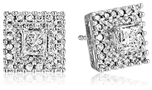 10k White Gold Diamond Square Earrings (1 cttw)