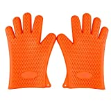 AGM® High Grade Waterproof Heat Resistant Flexible Silicone BBQ Gloves Perfect For Cooking Baking Grilling Camping (orange)